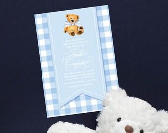 Light Blue Gingham Teddy Bear Baby Shower Invitation - It's a Boy - Little Cub - Baby Boy