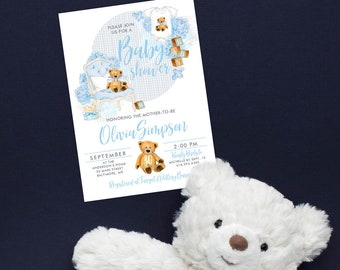 Blue Teddy Bear Baby Shower Invitation