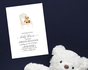 Baby Blue Teddy Bear Baby Shower Invitation
