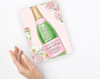 Surprise Party Champagne Bottle Birthday Party Invitation - Any Age