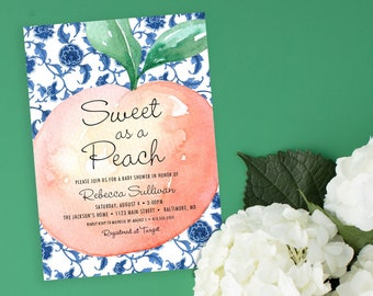 Sweet as a Peach Chinoiserie Baby Shower Invitation