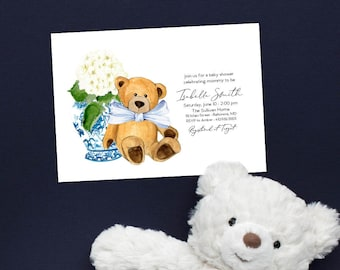 Ginger Jar Teddy Bear Baby Shower Invitation - It's a Boy - Little Cub - Baby Boy - Blue Chinoiserie Hydrangea
