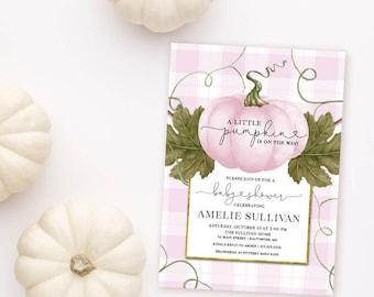 Pink Pumpkin and Buffalo Check Baby Shower Invitation