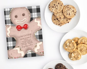 Buffalo Check Christmas Cookie Exchange Party Invitation