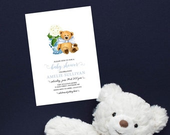 Ginger Jar Teddy Bear Baby Shower Invitation - It's a Boy - Little Cub - Baby Boy - Blue Chinoiserie Hydrangea