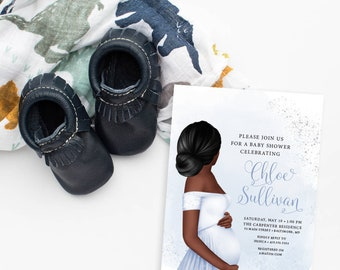 African American Boy Mom to Be Baby Shower Invitation