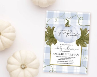 Blue Pumpkin and Buffalo Check Baby Shower Invitation