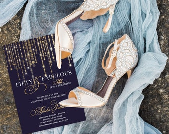 Gold and Navy Fairy Lights Surprise 50th Birthday Invitation - 60th 50th 40th 30th Fifty and Fabulous