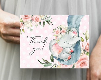 PRINTABLE Pink Elephant Thank You Notes Instant Download
