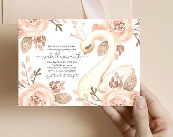 Pink Floral Swan Baby Shower Invitation - It's a Girl Watercolor Swan