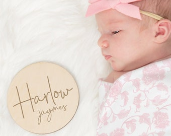 Personalized Name Sign | Birth Announcement | Engraved Wood Sign | Newborn Announcement | Baby Announcement | Wooden Baby Name Sign