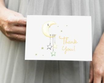PRINTABLE Yellow Moon and Stars Thank You Notes Instant Download