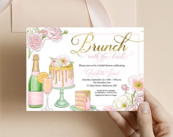 Pink Peony Bridal Shower Invitation - Brunch and Bubbly - Champagne Bridal Shower - Peony Flowers Blush Pink Faux Gold Foil Invitation