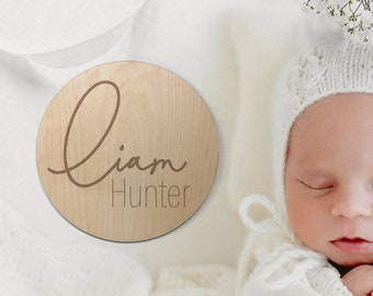 Baby Name Announcement Wooden Sign, Wood Sign for Birth Reveal, Small Baby Name Sign, Baby Name Reveal Sign, Personalized Baby Name Sign