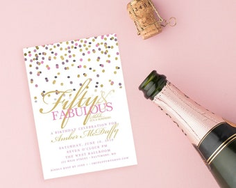 Confetti Surprise 50th Birthday Invitation - 60th 50th 40th 30th Fifty and Fabulous