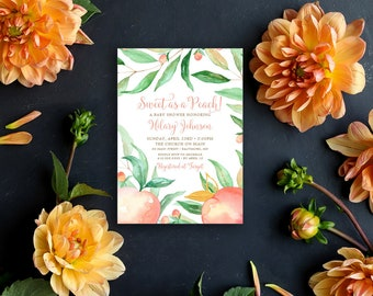 Sweet as a Peach Baby Shower Invitation - Watercolor Peach Bridal Shower Invite Birthday Invite Printable Sweet as a Peach Sweet Peach