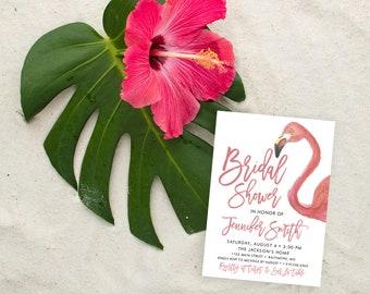 Tropical Flamingo Bridal Shower Invitation - Watercolor Flamingo and Modern Calligraphy Bridal Shower Invitation