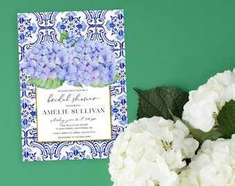 Blue Hydrangea and Tuscan Tile Floral Bridal Shower Invitation - Portuguese Blue Tile