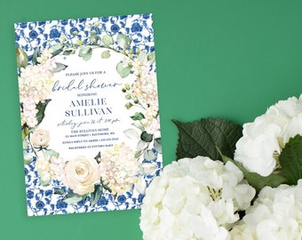 Chinoiserie Hyndrangea Bridal Shower Invitation