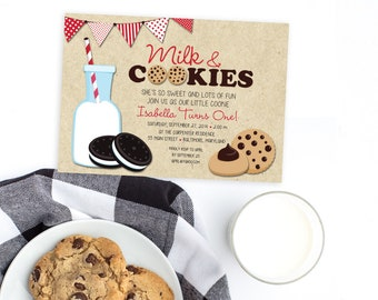 Red Milk and Cookies Birthday Party Invitation