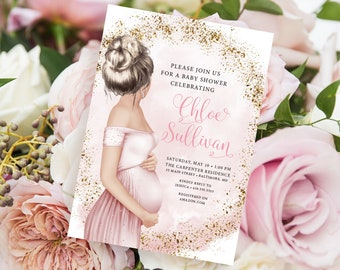 Blonde Mom to Be Baby Shower Invitation