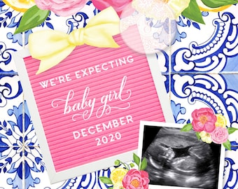 Lemon and Italian Tile Personalized Pregnancy Announcement for Social Media - Baby Girl