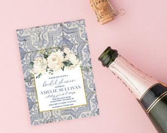 Blue Tuscan Tile and White Floral Bridal Shower Invitation - Portuguese Blue Tile