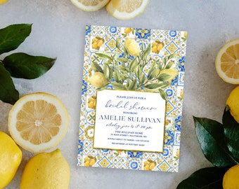 Lemon Majolica Bridal Shower Invitation - Blue Tile and Lemon Bridal Shower Invitation - Majolica Pottery Tiles