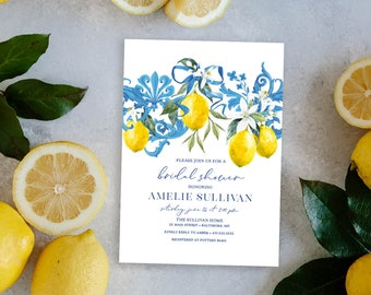 Tuscan Lemon Bridal Shower Invitation - Portuguese Blue Tile and Lemon Bridal Shower