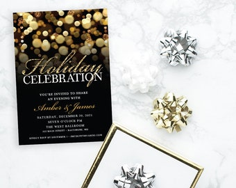 Holiday Party Invitation - Gold and Black Bokeh