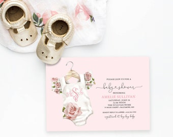Pink Floral Monogram Baby Shower Invitation