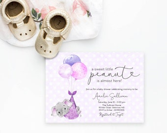 Purple Elephant Baby Shower Invitation - It's a Girl Watercolor Elephant - Little Peanut is Almost Here - Elephant with Balloons