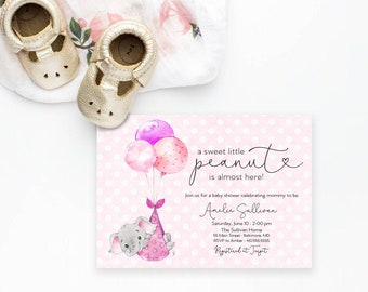 Pink Elephant Baby Shower Invitation - It's a Girl Watercolor Elephant - Little Peanut is Almost Here - Elephant with Balloons