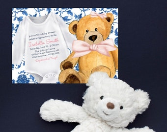 Blue Chinoiserie Teddy Bear Baby Shower Invitation - It's a Girl - Little Cub - Baby Girl