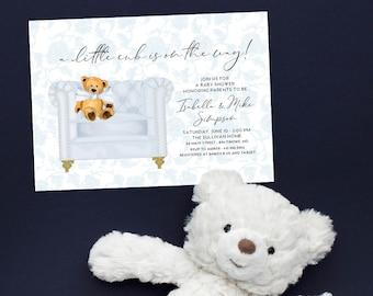 Baby Blue Chinoiserie Teddy Bear Baby Shower Invitation - It's a Boy - Little Cub - Baby Boy