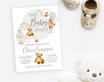 Gender Neutral Teddy Bear Baby Shower Invitation