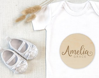 Engraved Baby Name | Baby Arrival Sign | Social Media Photo Prop Disc | Hello My Name Is Sign | Birth Gift | Birth Announcement
