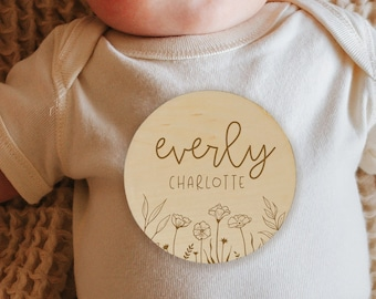 Wildflower Baby Name Sign, Boho Baby Name Announcement Sign, Floral Birth Announcement Sign, Engraved Baby Name Circle, Personalized Baby