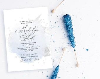 Winter Wonderland Soft Blue and Silver Bat Mitzvah Invitation