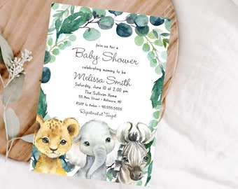 Gender Netural Jungle Animals Baby Shower Invitation - Greenery Watercolor Elephant Lion Zebra - Safari Baby Shower