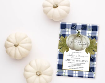 Navy Pumpkin and Buffalo Check Baby Shower Invitation