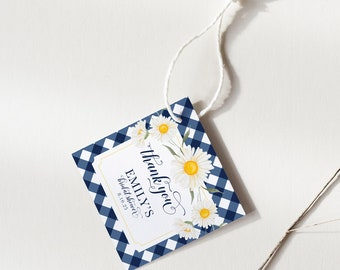 Navy Gingham and Daisy Bridal Shower Favor tags