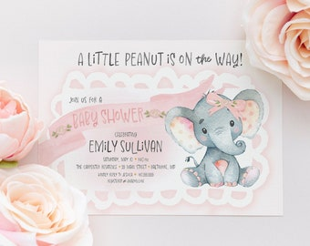 Pink Elephant Baby Shower Invitation - It's a Girl - Little Peanut is on the Way