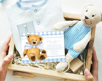 Baby Shower By Mail - Blue Gingham Teddy Bear Baby Shower Invitation - It's a Boy