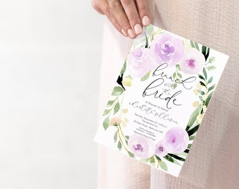Brunch with the Bride, Lavender Floral Bridal Shower Invitation, Purple Flowers - Printed Invitations - Greenery Invitation Watercolor