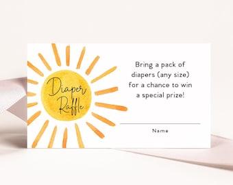Sunshine Baby Shower Diaper Raffle Insert Cards Printed
