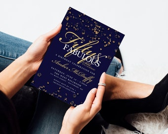 Navy and Gold Confetti Birthday Invitation Surprise 60th 50th 40th 30th Fifty and Fabulous