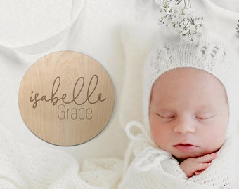 Newborn Name Wood Sign, Baby Name Sign, Wooden Baby Name Announcement Sign, Birth Announcement Sign, Eco Friendly Hospital Baby Photo Prop