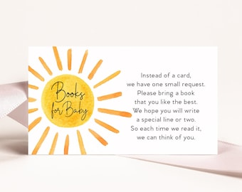 Sunshine Baby Shower Book Request Insert Cards Printed