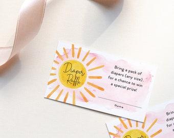 INSTANT DOWNLOAD Sunshine Baby Shower Diaper Raffle Ticket Insert - my sunshine pink
